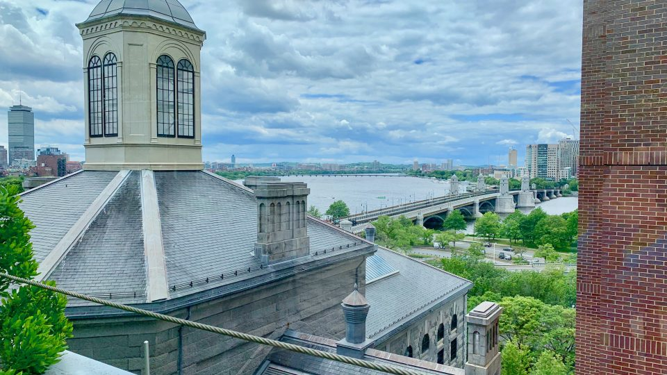 View from the healing garden on the 8th floor of the MGH Yawkey building.