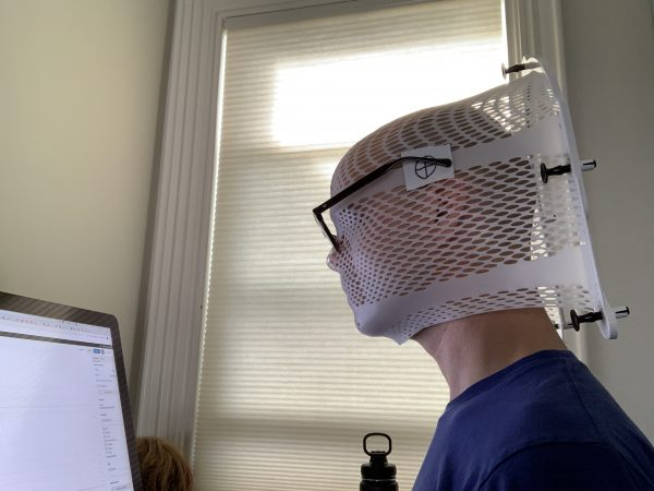 The author in his radiation mask